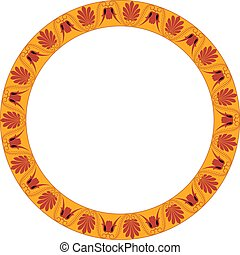 grec, cadre, ornament., rond, palmetta