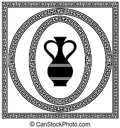 grec, cadres, ensemble