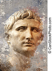 grec classique, fond, artistique, textured, portrait, ...