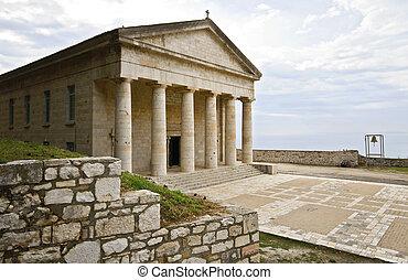 grec, corfu, ancien, temple, classique
