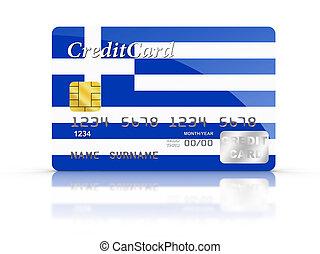 grec, crédit, couvert, carte, flag.