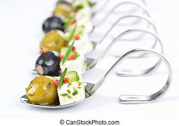 grec, cuillère, apéritifs