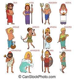 grec, ensemble, ancien, dessin animé, dieux