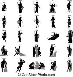 grec, ensemble, silhouette, dieux