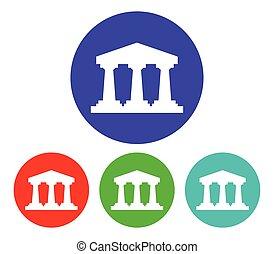 grec, ensemble, temple, icône