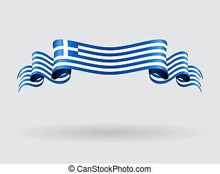 grec, flag., ondulé, illustration.