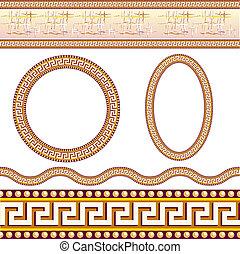 grec, frontière, motifs