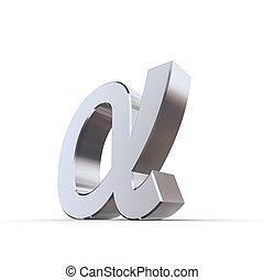 grec, inférieur, brillant, lettre, alpha