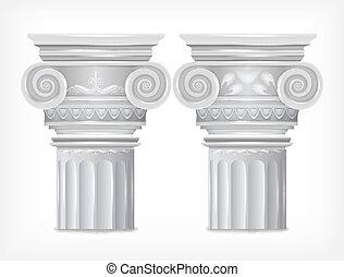 Grec, isolé, fond, vecteur, blanc, colonnes