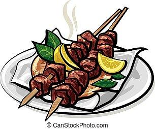 grec, kebabs, viande