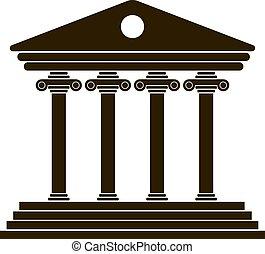 grec, noir, colonnade