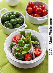 grec, olives, vert, délicieux, salade