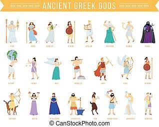 grec, panthéon, olympian, dessin animé, deities., figures., illustrations, déesses, divin, dieux, ancien, mythologique, plat, isolé, mythology., heroes., caractères, vecteur, titans, set.