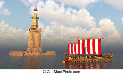 grec, phare, alexandrie, ancien, navire guerre