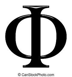 grec, phi, lettre, 3d