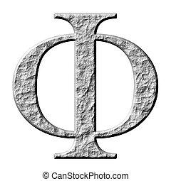 grec, pierre, phi, lettre, 3d