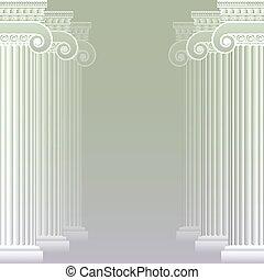 grec, romain, classique, ou, colonnes