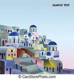 grec, santorini, village, grèce, îles, coucher soleil