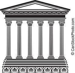 grec, stencil, temple