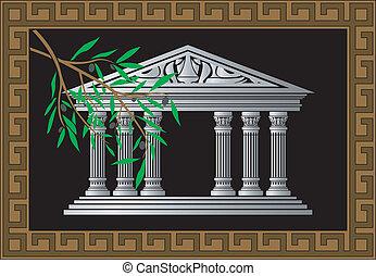 grec, temple, fond