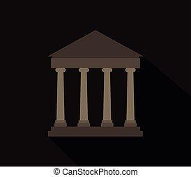 grec, temple, icône