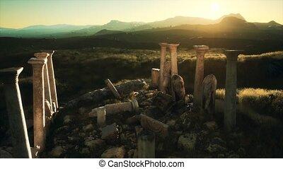 grec, temple, ruines, vieux, coucher soleil