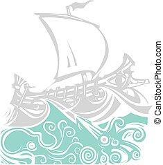 grec, vie, galère, mer, woodcut