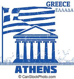 grecia, atenas, cartel