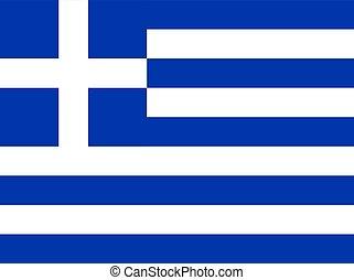 grecia, bandera, vector, illustration.