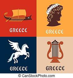 grecia, cultura, storia, e, mitologia, icone