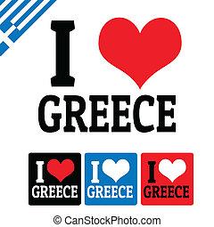 grecja, etykiety, miłość, znak