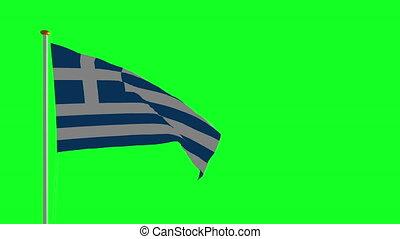 grecja, narodowa bandera, na, zielony, ekran