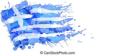 grecka bandera, robiony, plamy, barwny