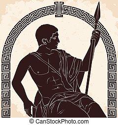 greco, antico, warrior.