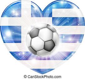 greco, calcio, cuore, bandiera