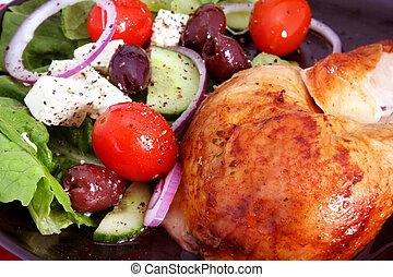 greco, pollo, arrosto, insalata