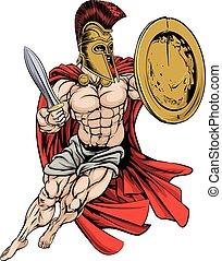 greco, rosso, caped, guerriero