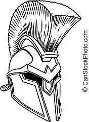 greco, spartan, antico, casco