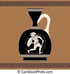 greco, vase., vettore