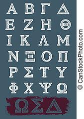 greco, vettore, grunge, alfabeto