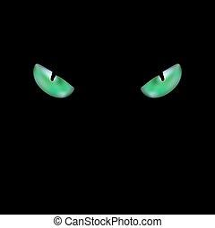 gree, tête, noir, incandescent, chat