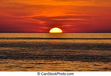 greece., κρήτη , sunset.