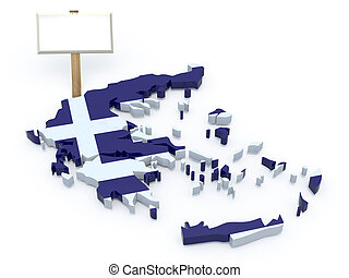 greece 3d map with blank signboard
