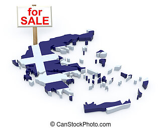 greece 3d map with sign for sale