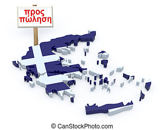 greece 3d map with sign for sale (greek language)