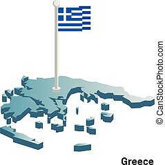 Greece 3d vector map with national flag