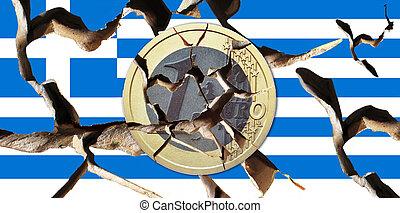 Greece - A broken Greek flag with a broken coin