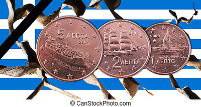 Greece - A Greek broken flag with 5, 2, 1 cents coins and a ...