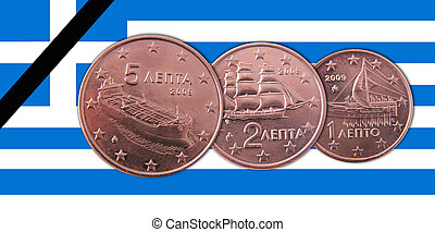 Greece - A Greek flag with 5, 2, 1 cents coins and a ...