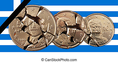 Greece - A Greek flag with broken 50, 20, 10 cents coins and...
